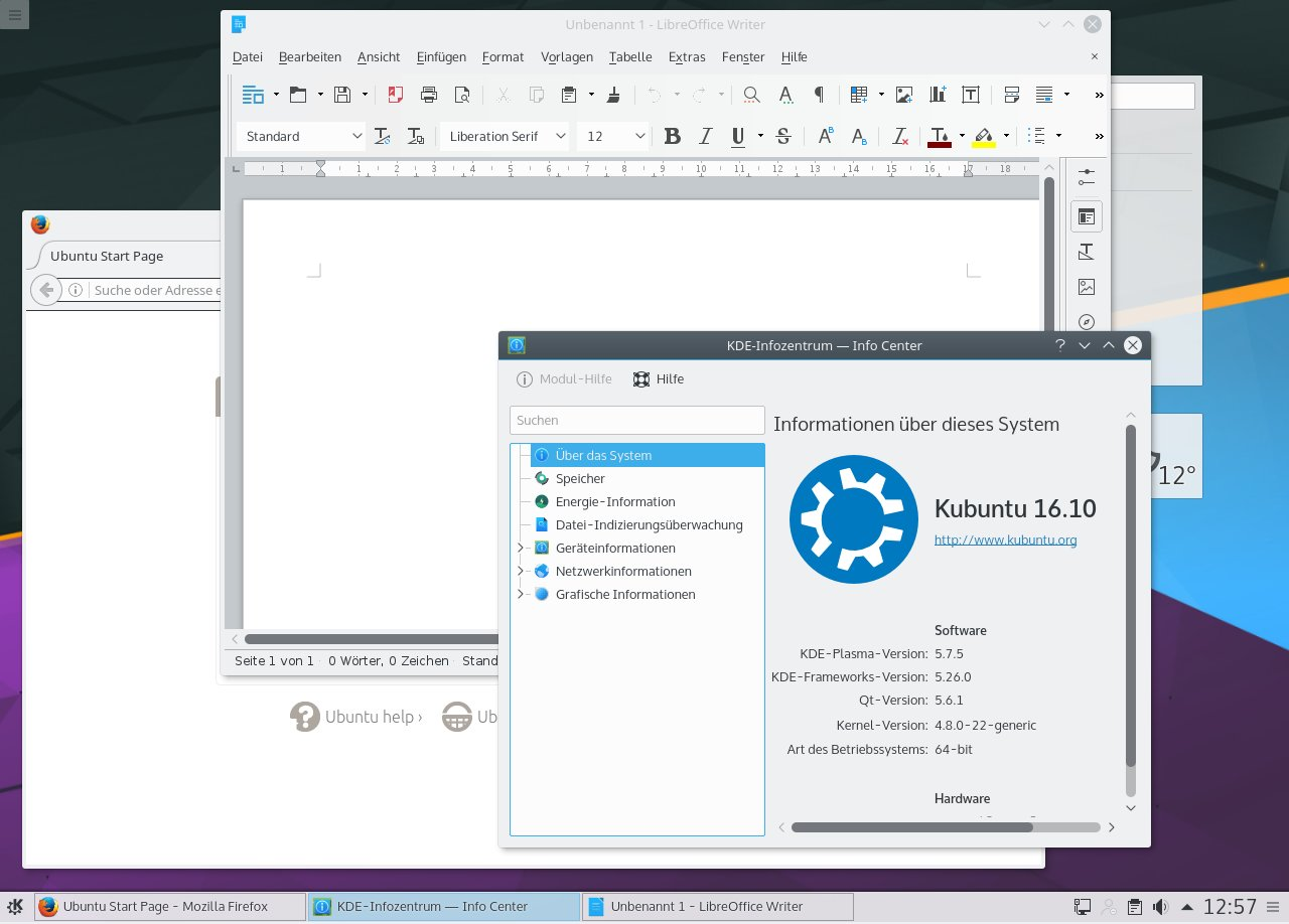 Kubuntu 16.10 Screenshot